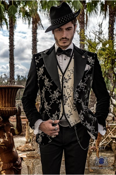 Black velvet tailored fit italian Steampunk fashion tuxedo with floral embroidery