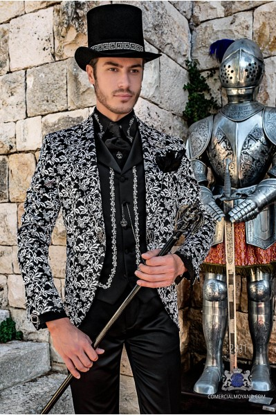 Gothic era wedding frock coat black and silver brocade with strass on lapels