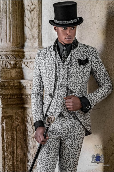 Gothic era Mao collared frock coat white and black brocade with black rhinestones