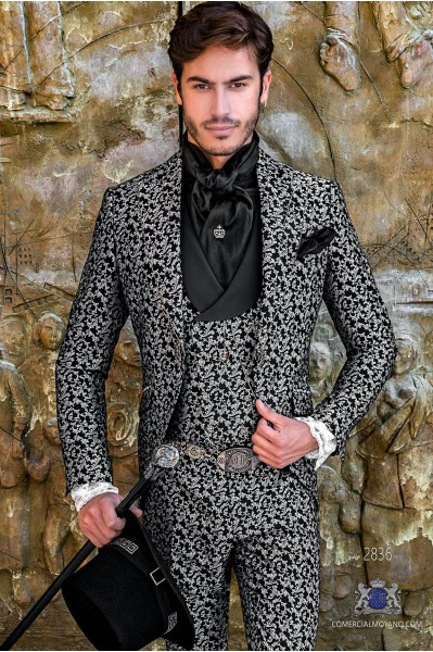 Gothic era wedding frock coat black and silver brocade with strass on peak lapels