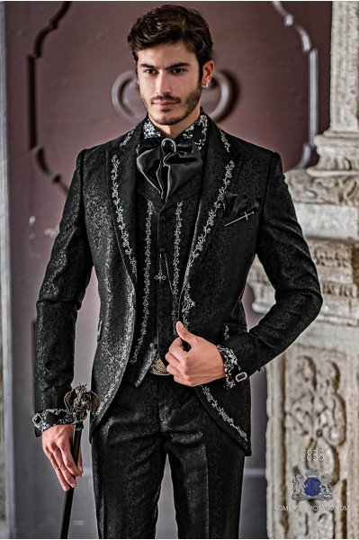 Black brocade Gothic era wedding frock coat with silver floral embroidery on lapels