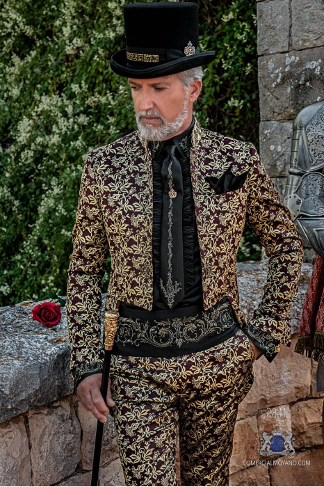 Garnet golden floral brocade Gothic era Tailcoat with embroidered Mao collar