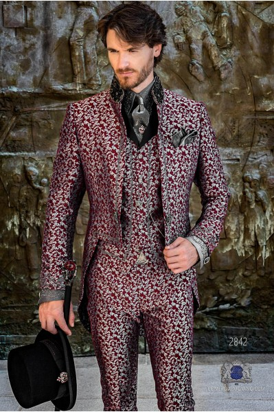 Garnet silver floral brocade Gothic era Tailcoat with silver embroidery and mao collar with black rhinestones