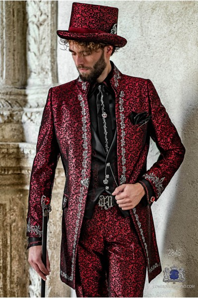 Red brocade Gothic era Napoleon collar Frock coat with silver floral embroidery