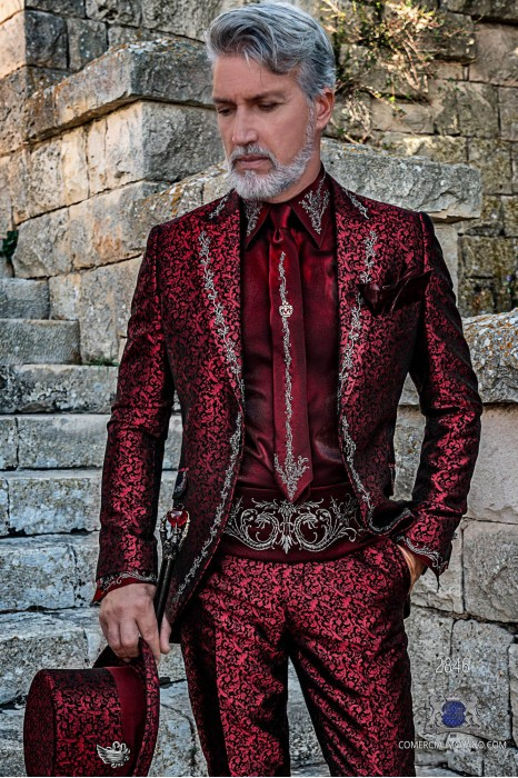 Red brocade Gothic era Frock coat with silver floral embroidery