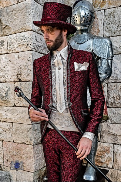 Red brocade Gothic era Mao collar Frock coat with silver floral embroidery