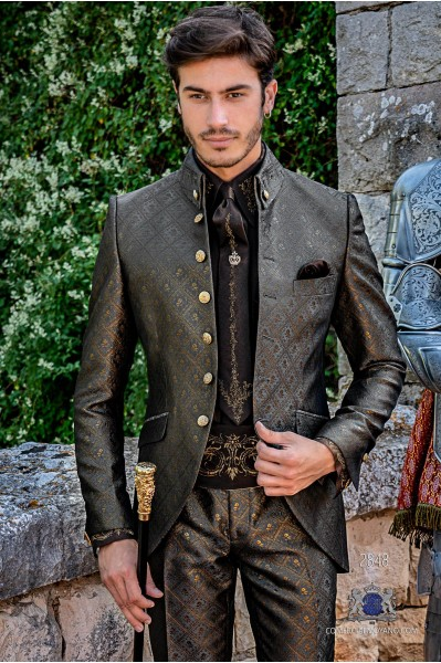 Gray with gold brocade Gothic era Napoleon collar Frock coat tailored cut