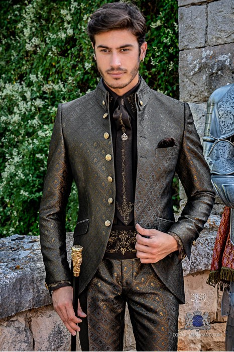 Gray with gold brocade Gothic era Napoleon collar Frock coat tailored italian cut