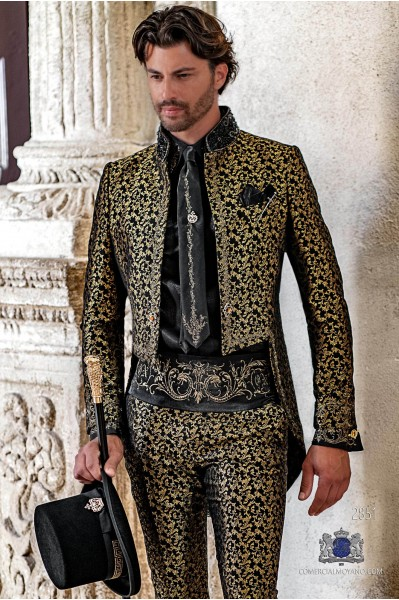 Black with gold floral brocade Gothic era Tailcoat with gold embroidery and mao collar with black rhinestones