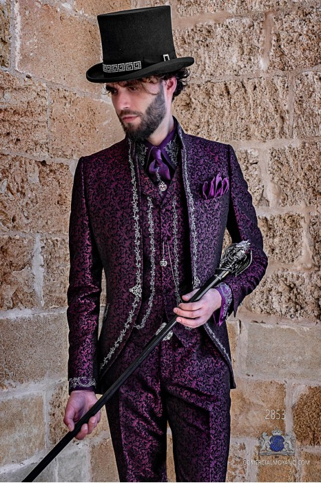 Purple brocade Gothic era Mao collar Frock coat with silver floral embroidery