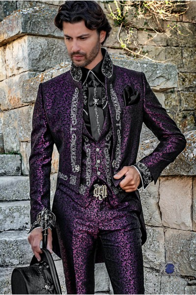 Purple brocade Gothic era Tailcoat with silver embroidery and mao collar with black rhinestones