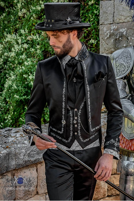 Black satin Gothic era Tailcoat with silver embroidery and mao collar with black rhinestones