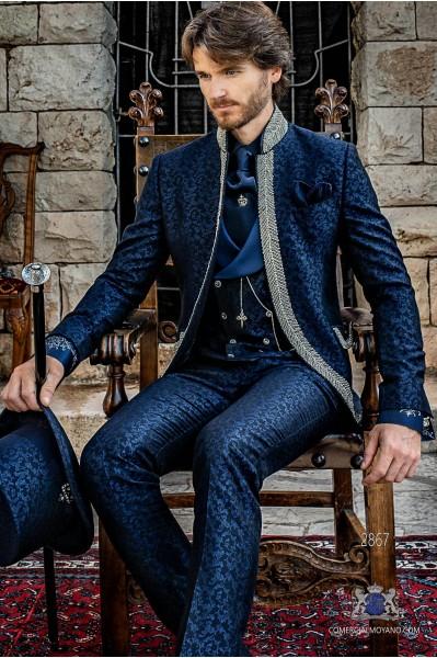 Blue brocade Gothic era Mao frock coat with rhinestones