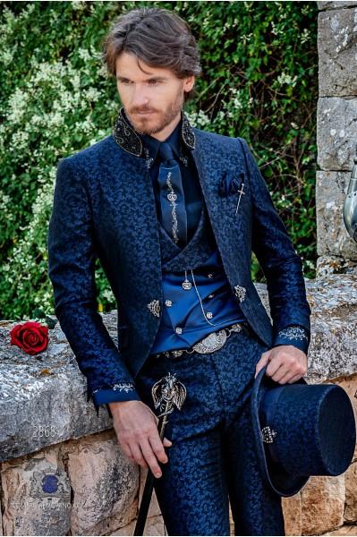 Blue brocade Gothic era frock coat with black rhinestones Mao collar