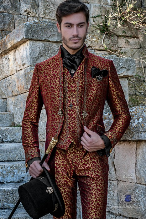 Red with gold brocade Gothic era Mao collar Frock coat with golden floral embroidery