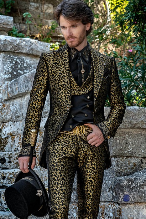 Black with gold floral brocade Gothic era wedding frock coat tailored italian cut