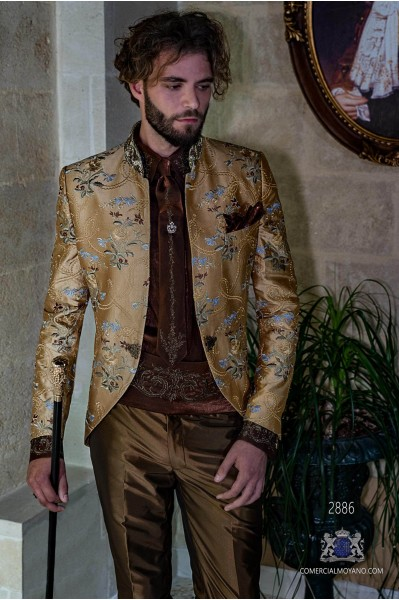 Golden gothic era wedding frock coat in pure shantung silk with floral embroidery