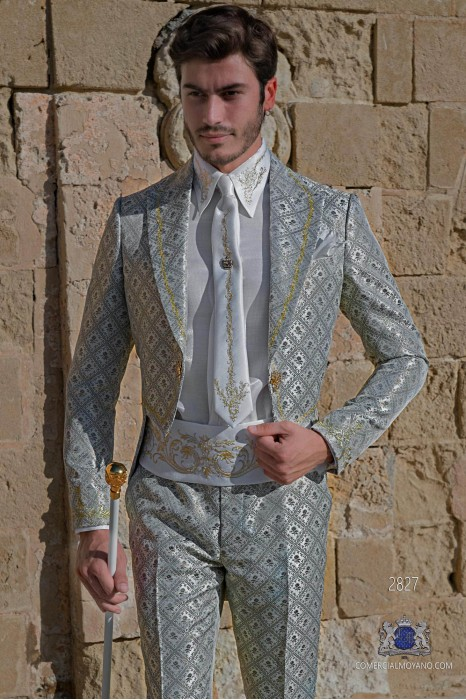 Light grey with golden brocade Baroque era Tailcoat with gold floral embroidery