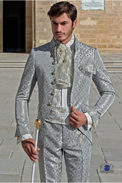 Light gray with gold brocade Baroque era Napoleon collar Frock coat tailored italian cut