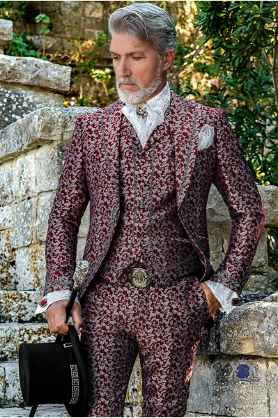 Red with silver floral brocade Baroque era Frock coat with silver embroidery