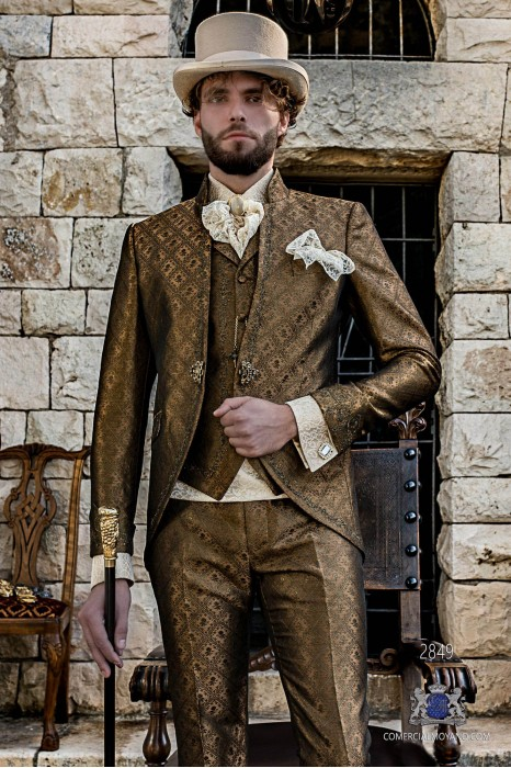 Gold brocade Baroque era Mao collar Frock coat with golden floral embroidery