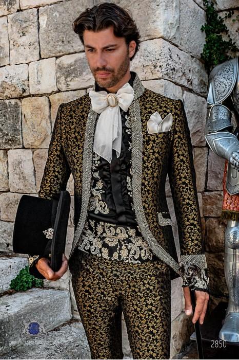 Gold brocade Baroque era Mao collar Frock coat with rhinestones