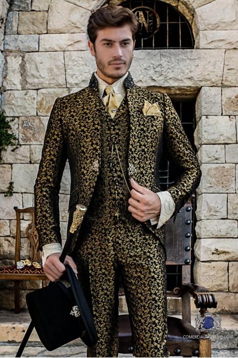 Gold brocade Baroque era Frock coat with black rhinestones Mao collar
