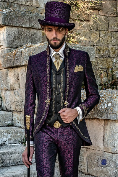 Purple brocade Baroque era Napoleon collar Frock coat with golden floral embroidery