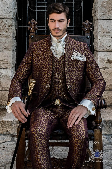 Burgundy gold brocade Baroque era Mao collar Frock coat with golden floral embroidery