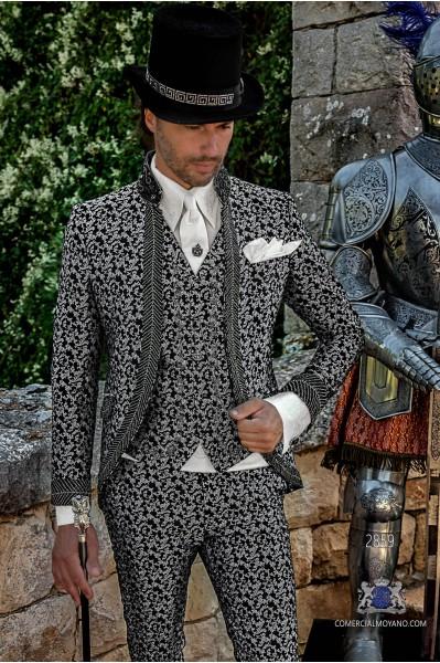 Black with silver brocade Baroque era Frock coat with black rhinestones Mao collar