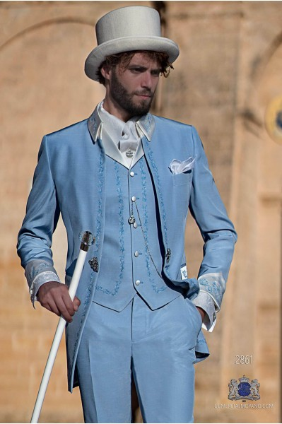 Light blue with blue floral embroidery Baroque era Frock coat with contrast ivory Napoleon collar and cuffs