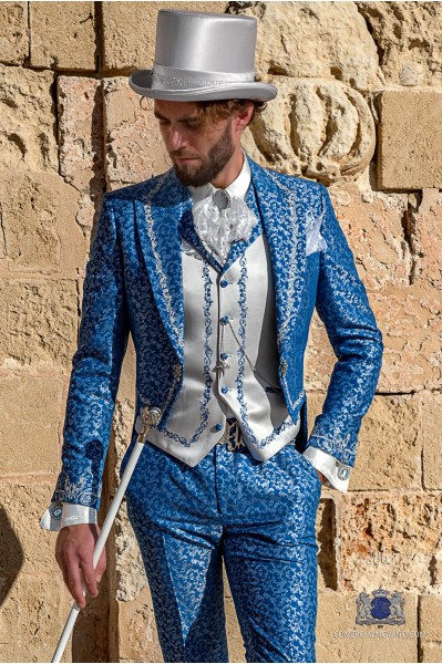 Light blue with silver brocade Baroque era Tailcoat with silver floral embroidery