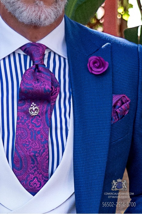 Blue and purple wedding tie cashmere design with matching handkerchief