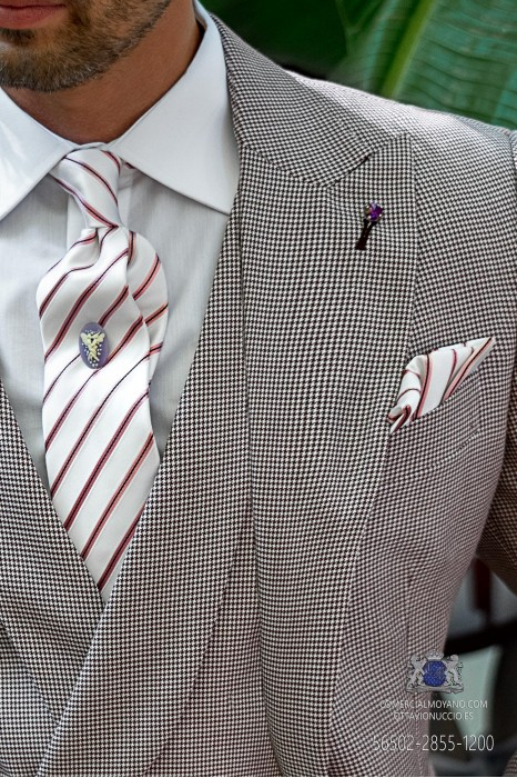 Groom tie with matching pocket square in pure white silk with pink and black stripes