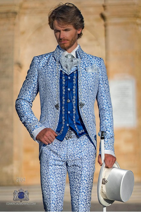 White with light blue floral brocade Baroque era Napoleon collar frock coat with silver embroidery
