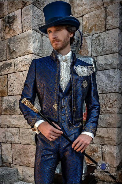 Blue with golden brocade Baroque era Napoleon collar Tailcoat with gold floral embroidery