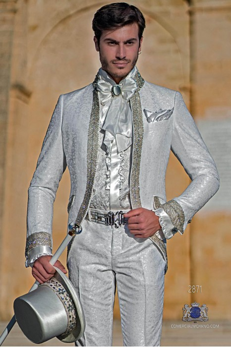 White floral brocade Baroque era Mao collar frock coat with crystal rhinestones