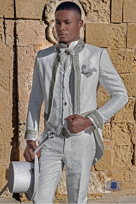 White brocade Baroque era Mao collar Tailcoat with crystal rhinestones