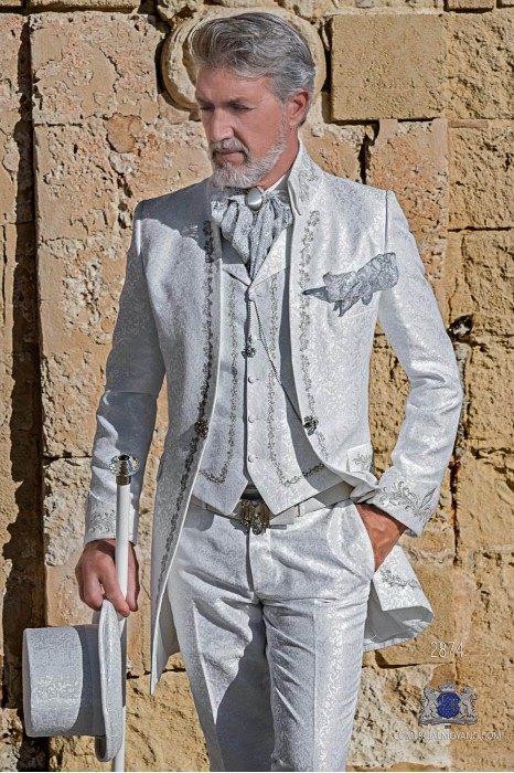 White floral brocade Baroque era Napoleon collar frock coat with silver embroidery