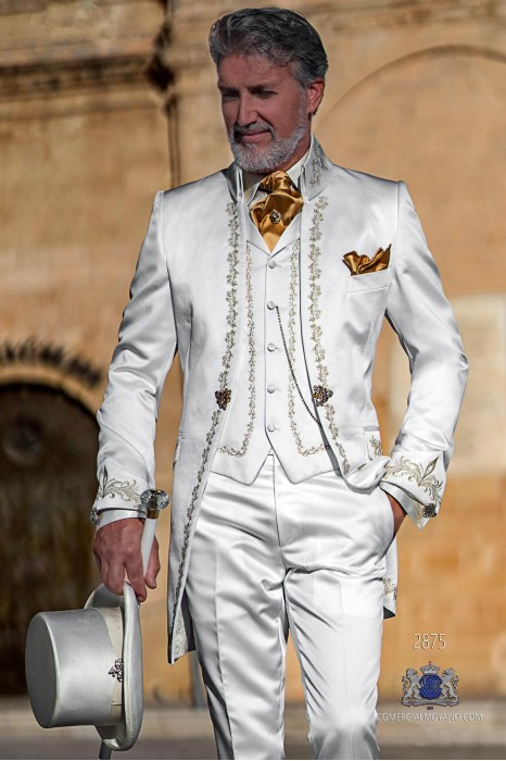 White satin Baroque era Napoleon collar frock coat with gold floral embroidery