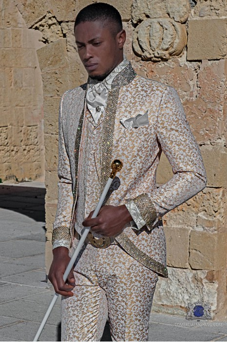 White with gold floral brocade Baroque era Mao collar frock coat with crystal rhinestones