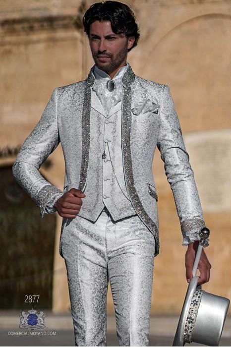 Light grey floral brocade Baroque era Mao collar frock coat with crystal rhinestones