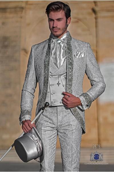 Pearl grey floral brocade Baroque era Mao collar frock coat with crystal rhinestones