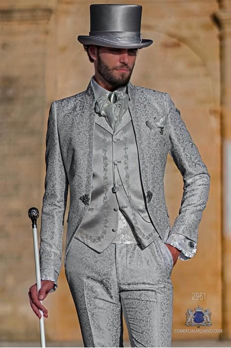 Light grey floral brocade Baroque era Mao collar frock coat with silver embroidery