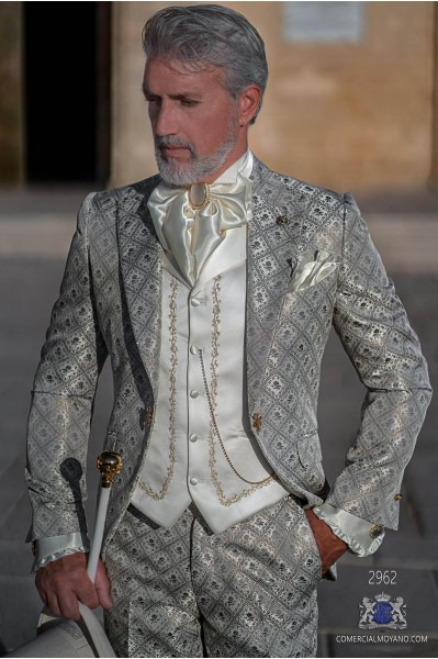 Light grey with gold floral brocade Baroque era frock coat with gold strass on lapels