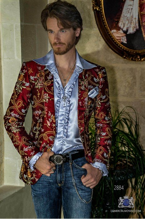 Red fashion party blazer in pure Shantung silk with floral embroidery