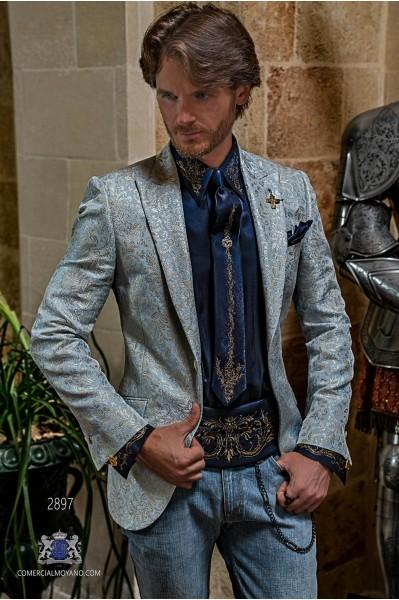 Blazer de fête de mode pour hommes bleu clair avec brocart floral doré coupe italienne adaptée sur mesure
