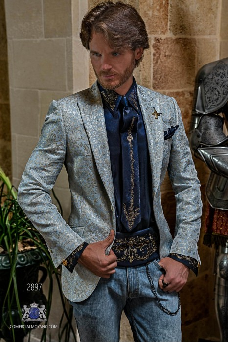Light blue men's fashion party blazer golden floral brocades modern Italian cut tailored
