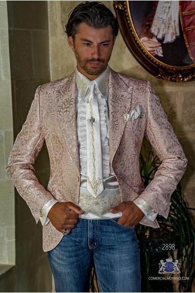 Blazer de fête de mode pour hommes rose avec brocart floral doré coupe italienne adaptée sur mesure