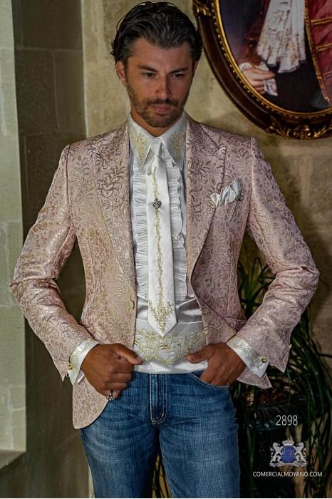 Pink men's fashion party blazer golden floral brocades modern Italian cut tailored